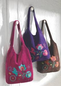 Hippy Bag~Large Velvet Bag with Embroidered Flowers~Fair Trade by Folio Gothic Hippy SB172